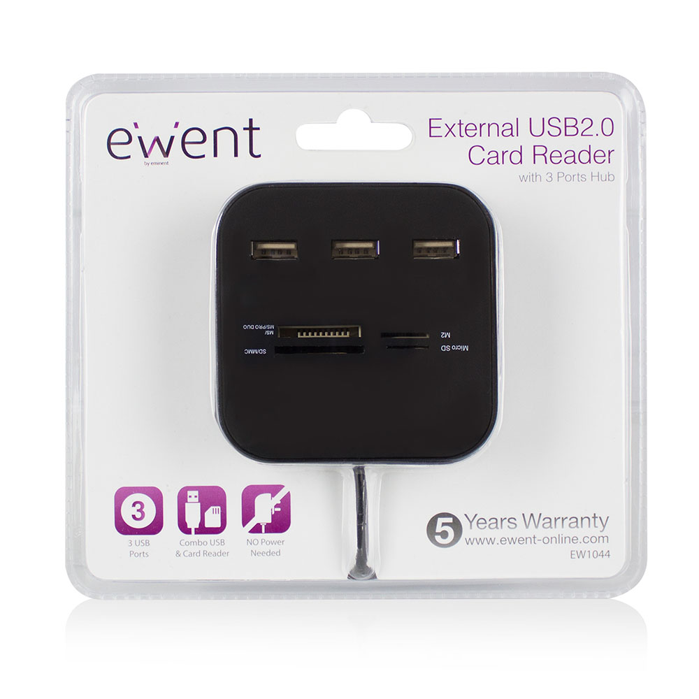 USB 2.0 Card reader + Hub 3 ports