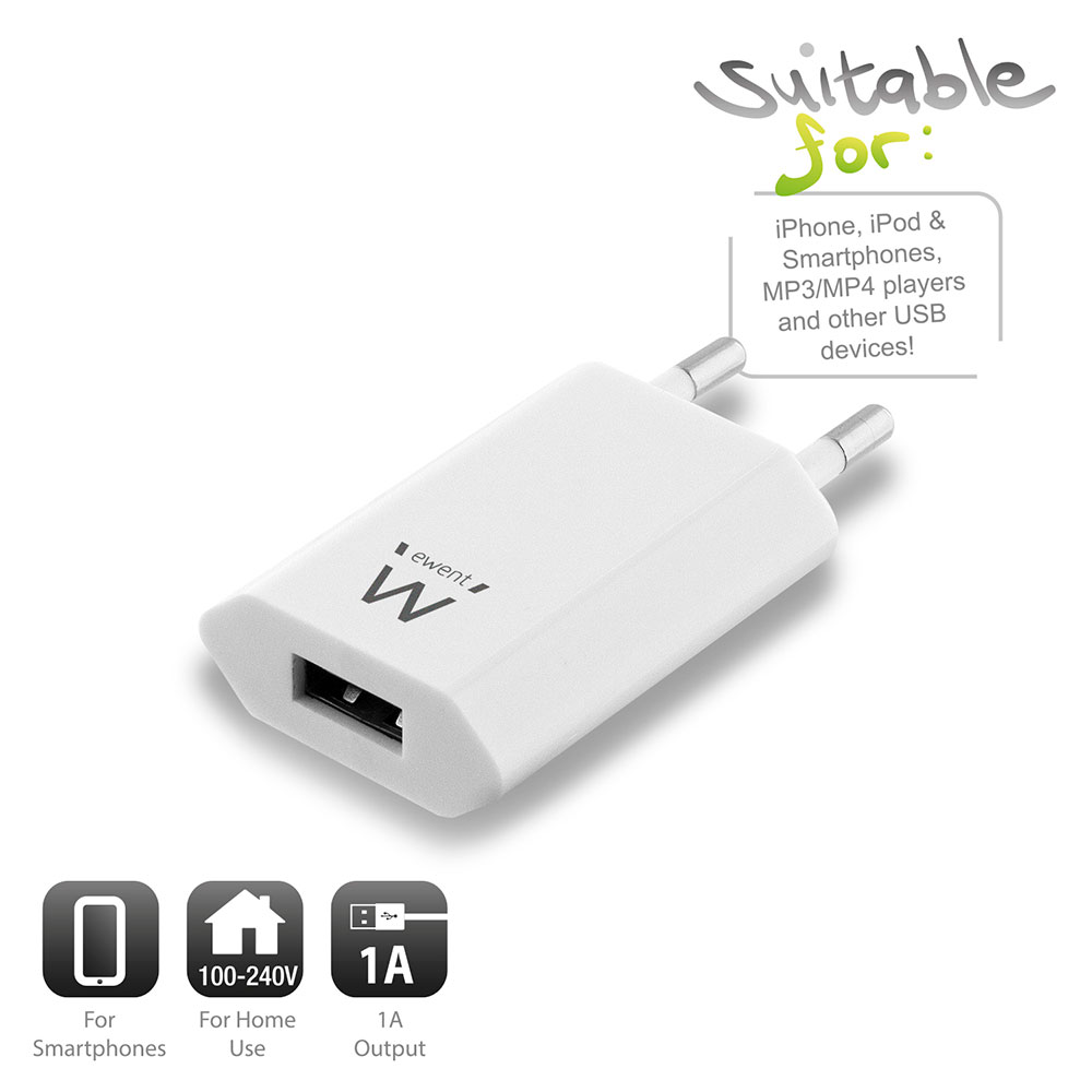 Compact USB Charger 1A