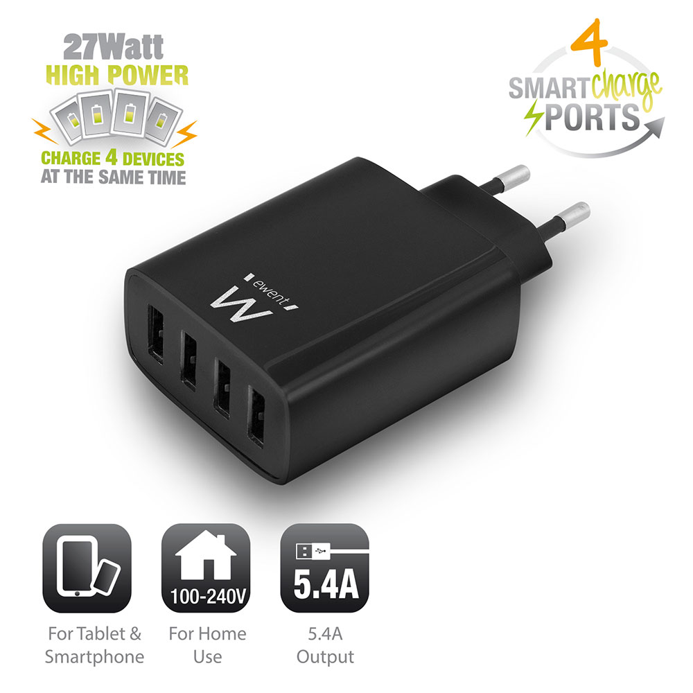 4-Port Smart USB Charger 5.4A