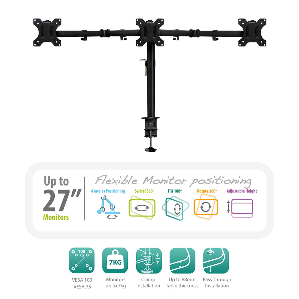 Desk Mount for 3 monitors up to 27 inch with VESA