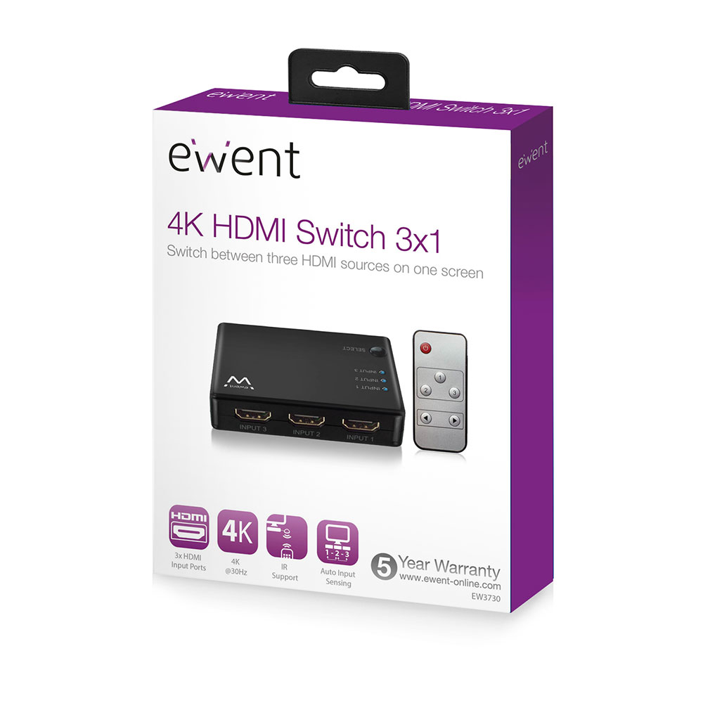 4K HDMI Switch 3 ports, display 3 HDMI sources on one monitor
