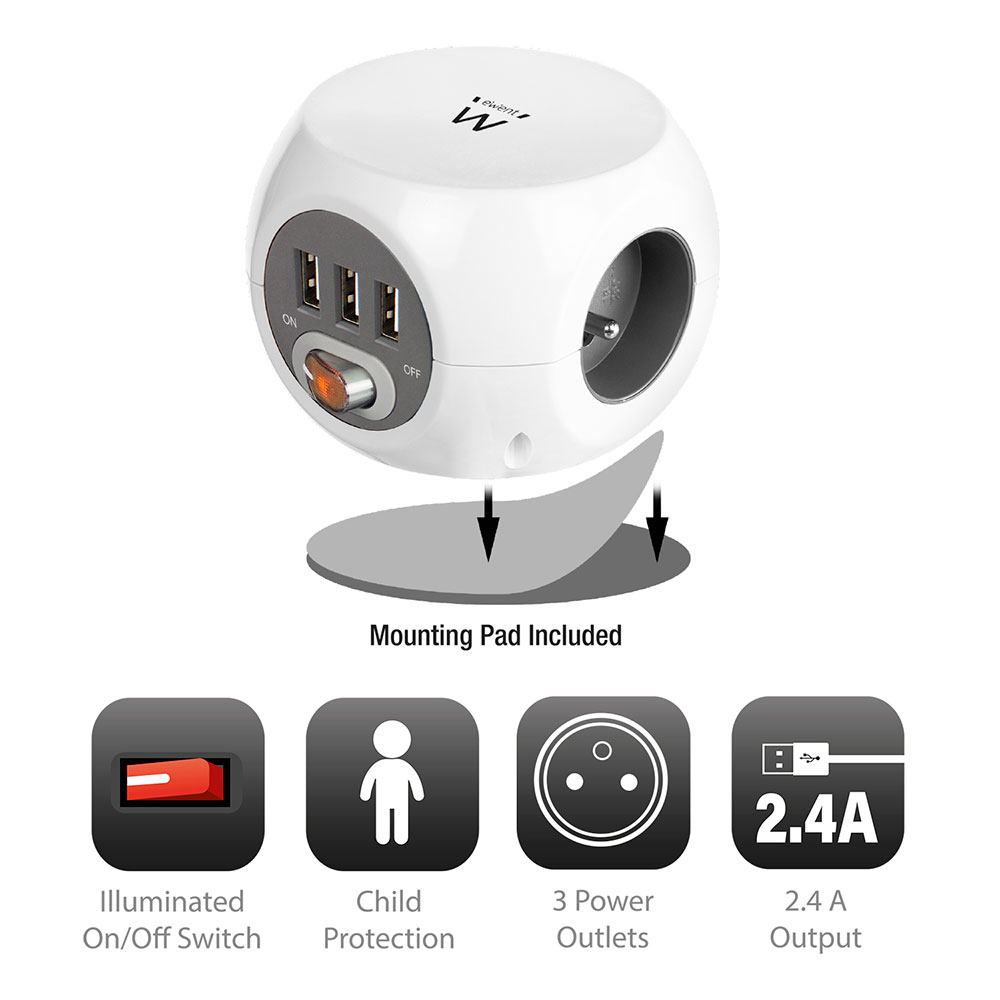 Cubical Power Socket 3x including 3 USB ports, 1,5m (Belgium)