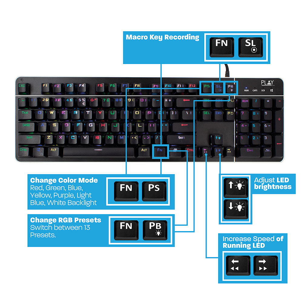 Play Mechanical Gaming Keyboard with RGB illumination