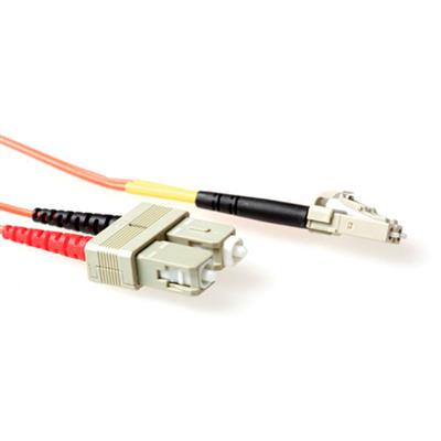 1 meter LSZH Multimode 50/125 OM2 fiber patch cable duplex with LC and SC connectors