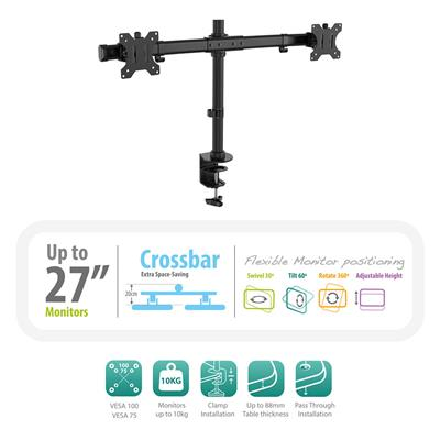 Dual Monitor Desk Mount with Crossbar for 2 monitors up to 27 inch